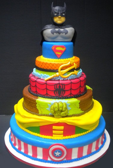 superhero crossover cake