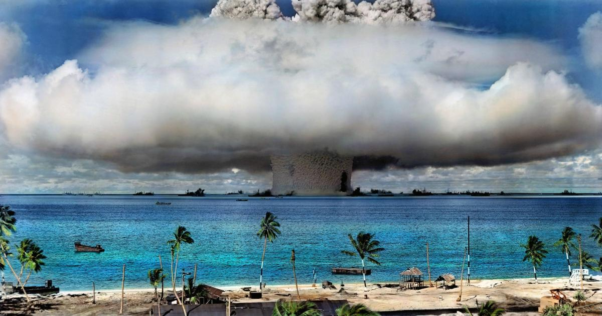 Colorized Photo of Nuclear Bomb Test at Bikini Atoll