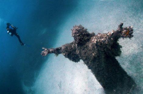 Underwater Statue of Jesus in Malta