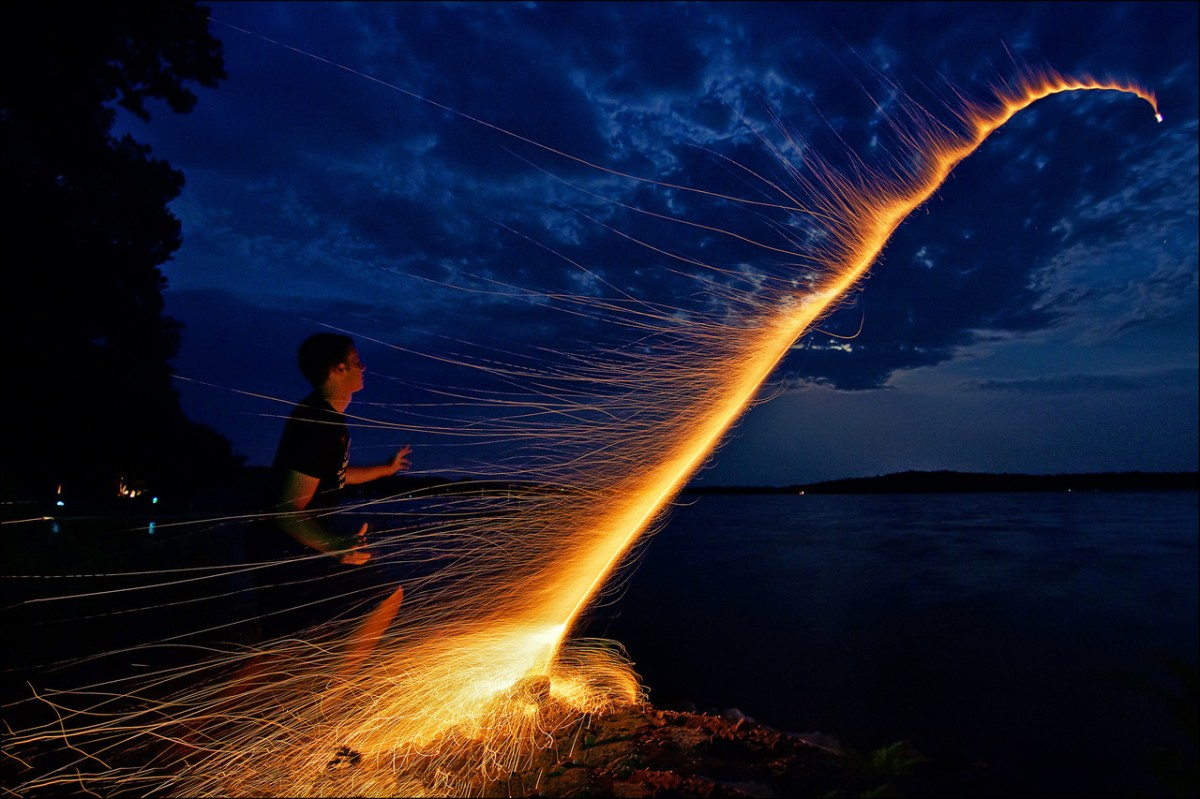 Long Exposure of a Bottle Rocket [Picture]